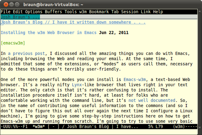 Installing the w3m Web Browser in Emacs | Josh Braun's Blog